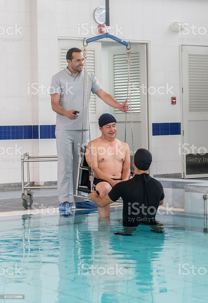 Man doing hydrotherapy at the hospital stock photo