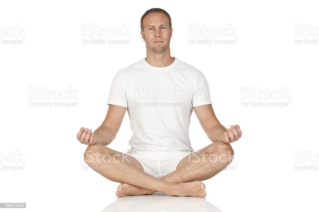 Man doing meditation exercise royalty-free stock photo