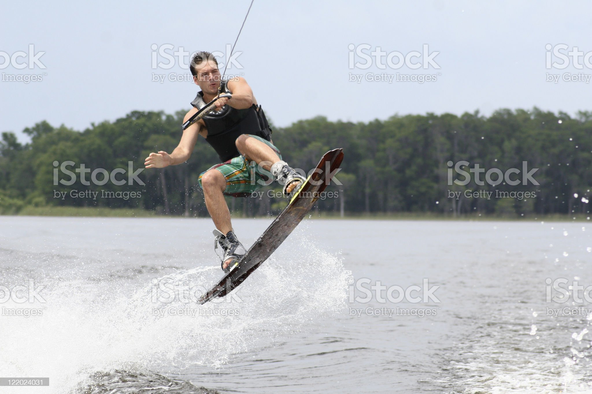A man doing water sports outside royalty-free stock photo
