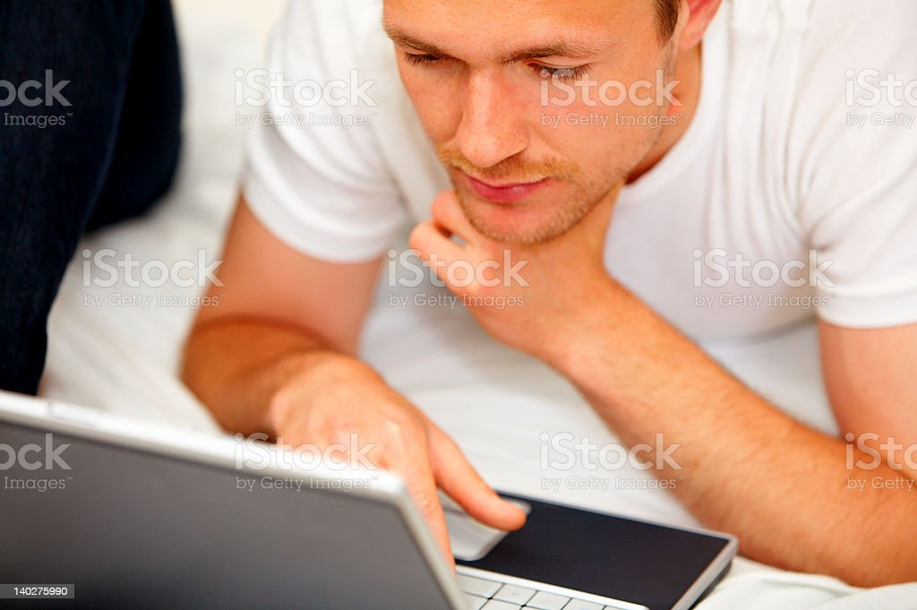 Man doing work at home royalty-free stock photo