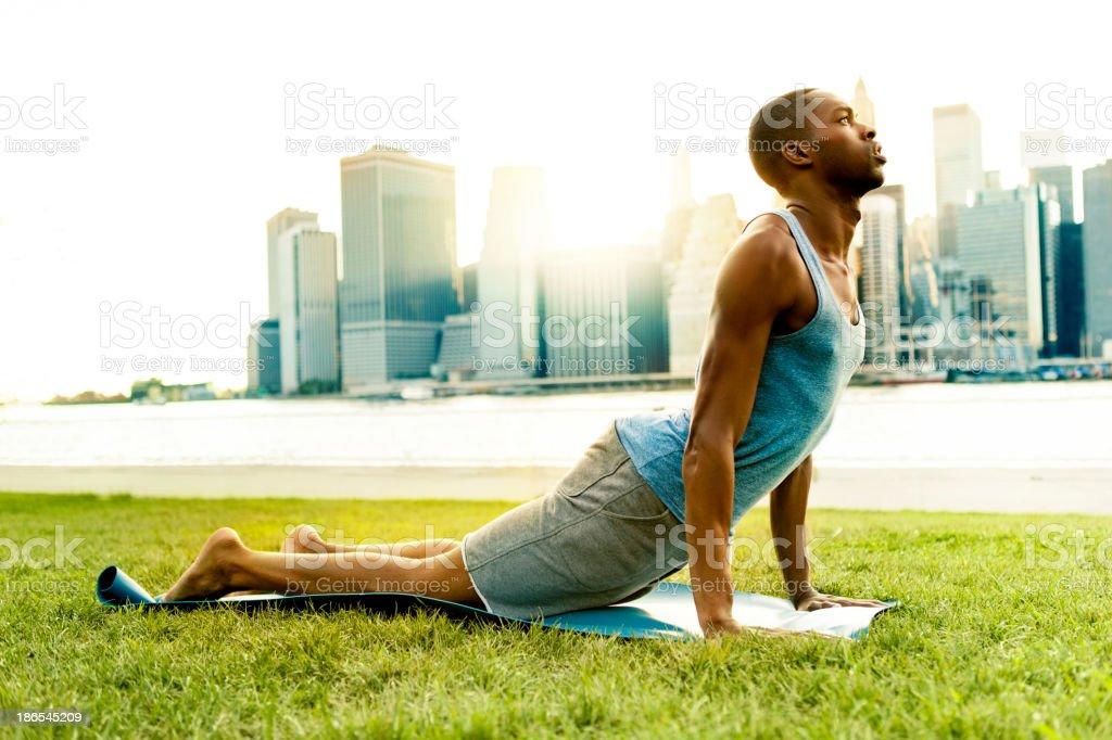 Man doing Yoga in New York royalty-free stock photo