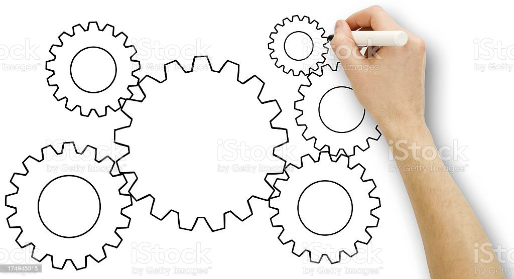 Man drawing a gear royalty-free stock photo