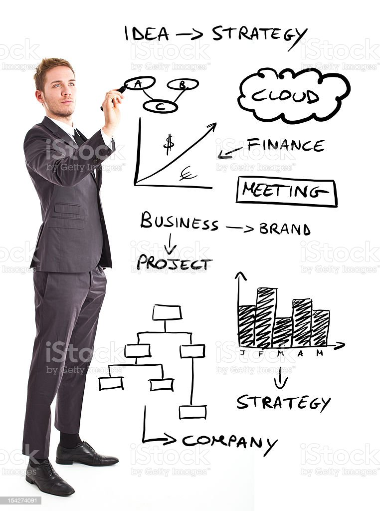 A man drawing business concepts in the air royalty-free stock photo