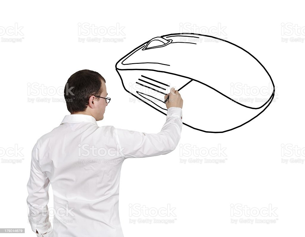man drawing mouse royalty-free stock photo