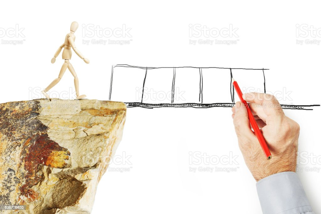 Man draws bridge and saves other person from falling stock photo