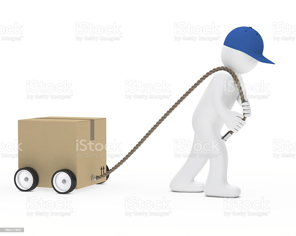 man draws package royalty-free stock photo