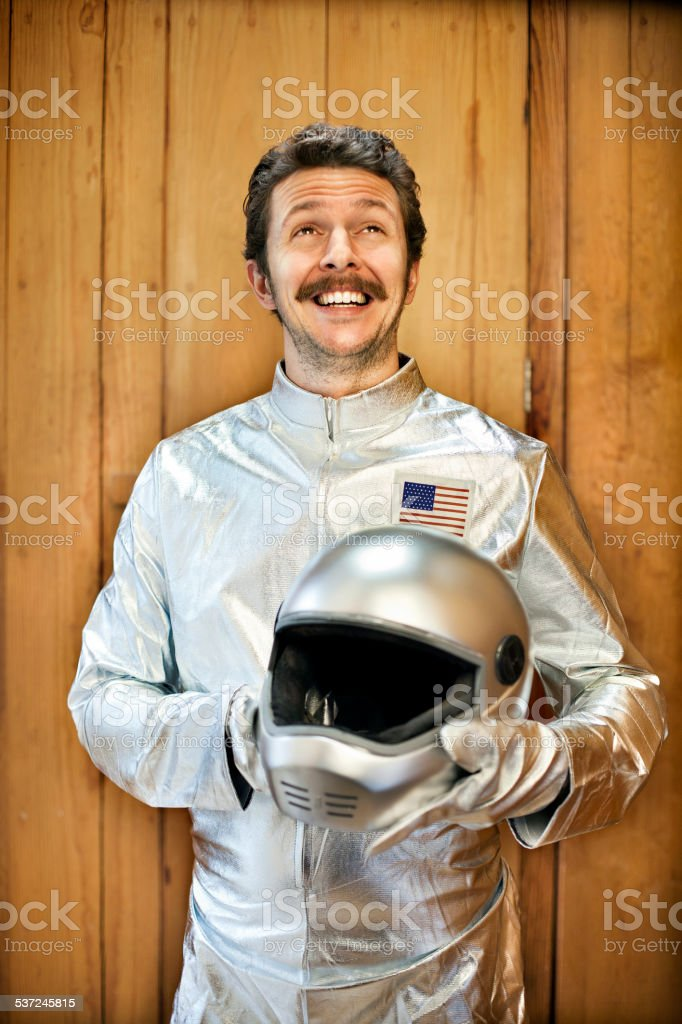 Man dressed as an astronaut stock photo