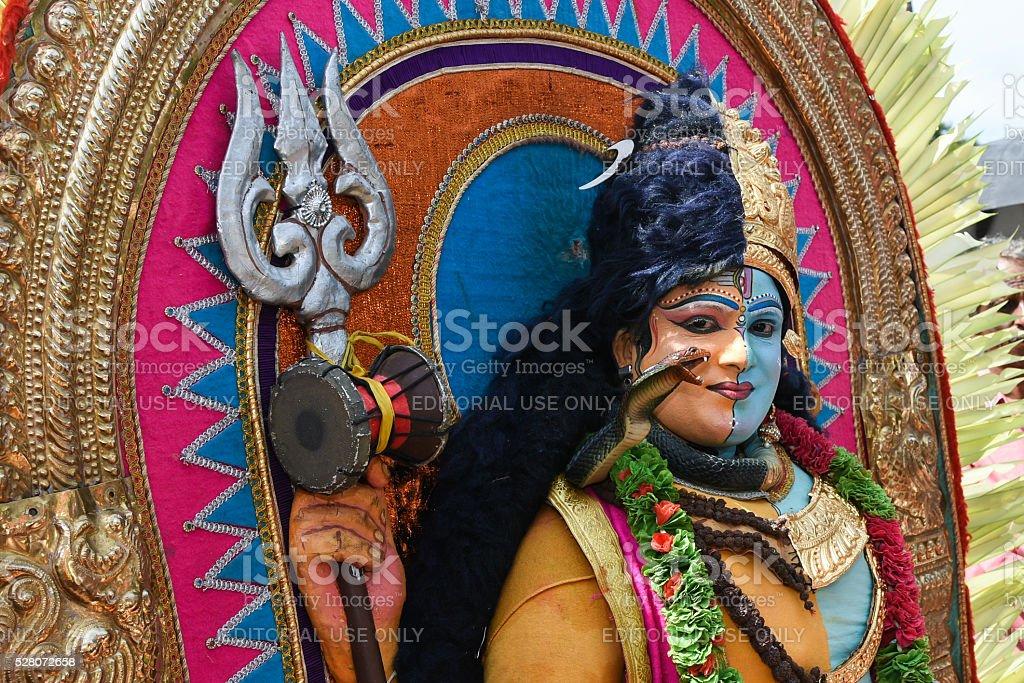 Man dressed as Hindu God Shiva during Onam, Kerala, India stock photo