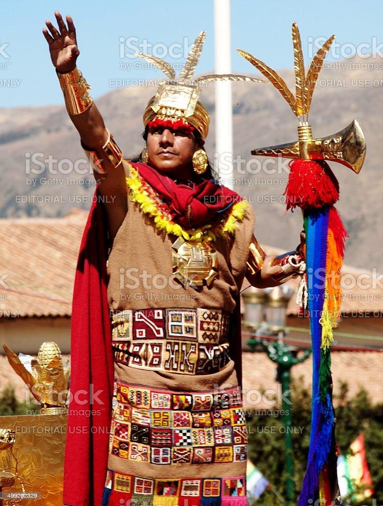 Man dressed as Inti Raymi king salutes the crowd stock photo