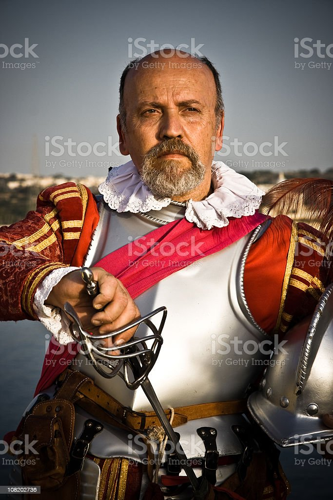 Man Dressed as Medieval Knight stock photo