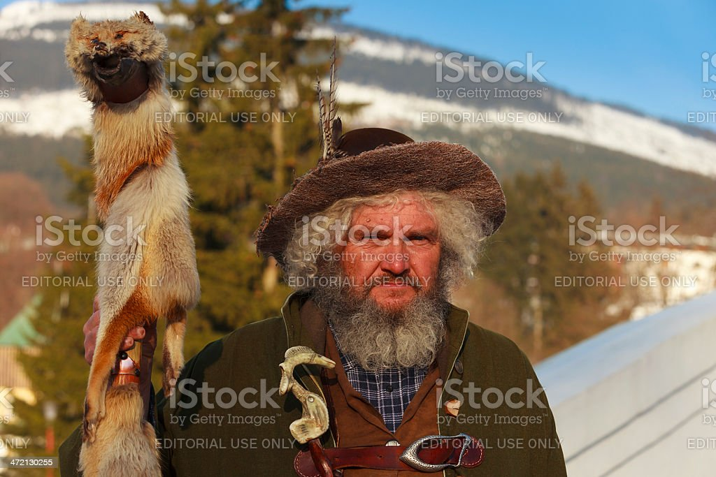 man dressed as Rübezahl in the Giant Mountains stock photo