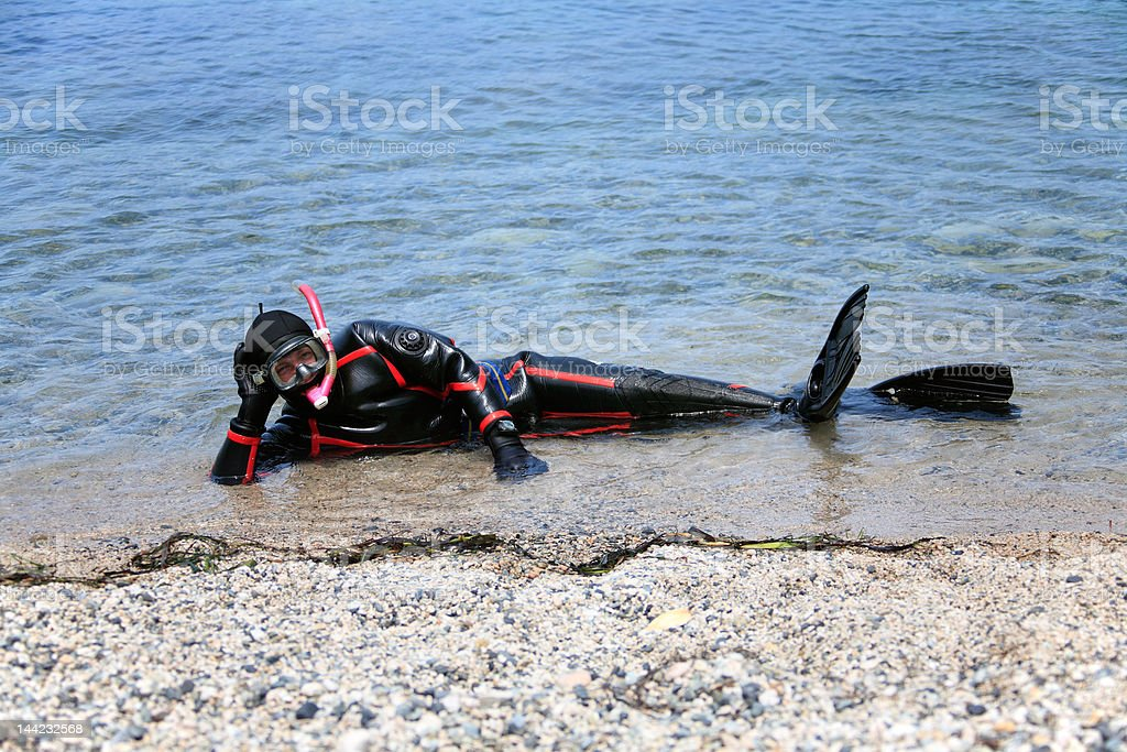 man dressed in neoprene dry suit ready for snorkel stock photo