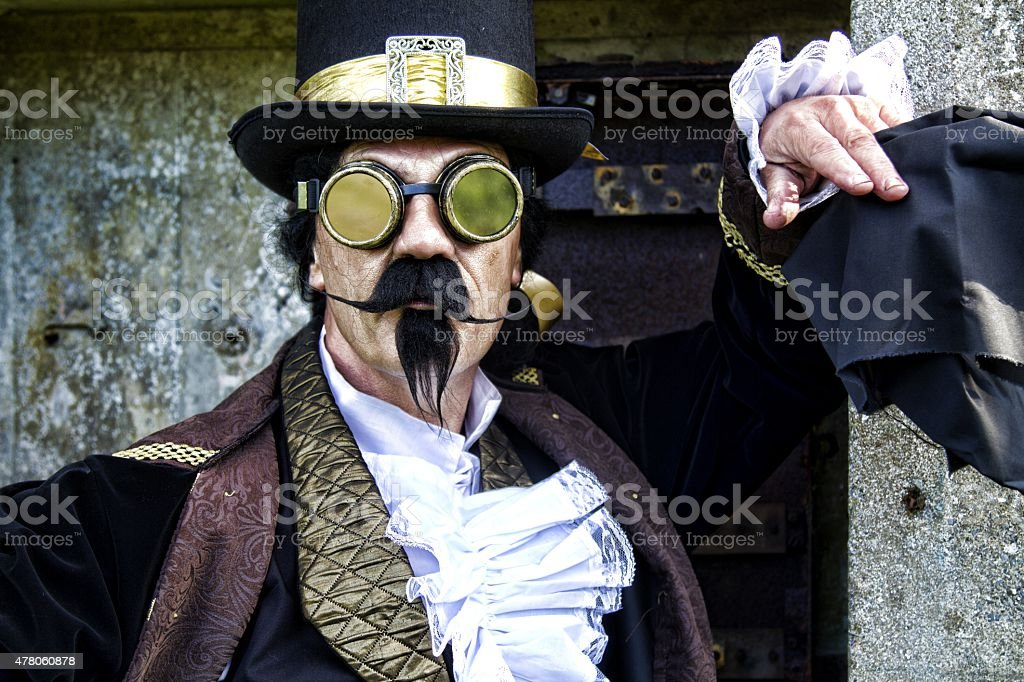 man dressed in vintage steampunk clothing stock photo