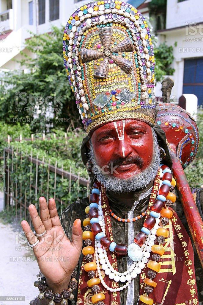 Man dressed up as Hanuman stock photo