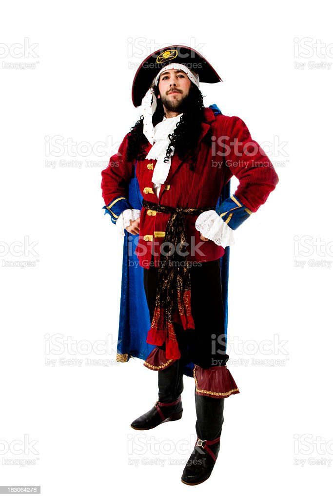 Man dressed up in a pirate costume stock photo