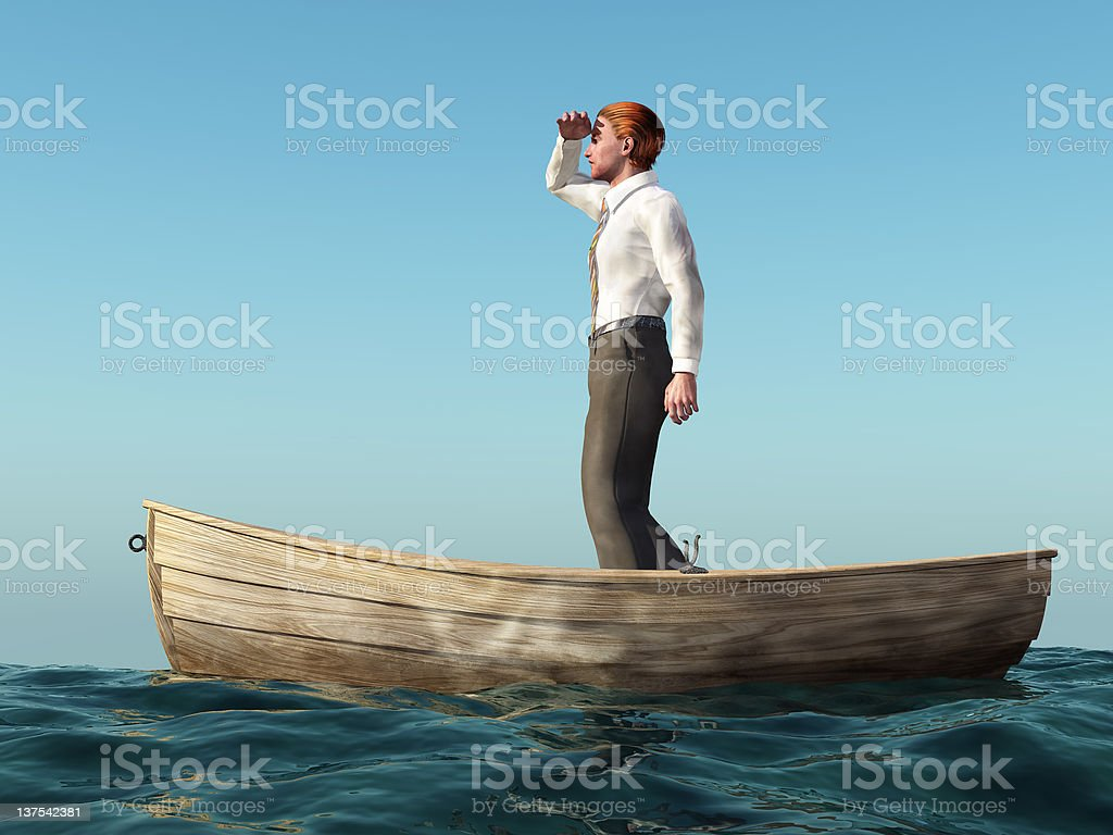 man drifting in a boat stock photo