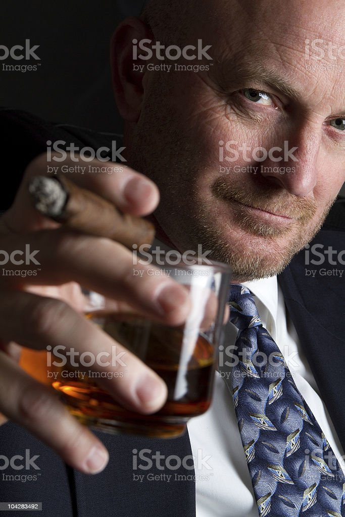 Man Drinking and Smoking royalty-free stock photo