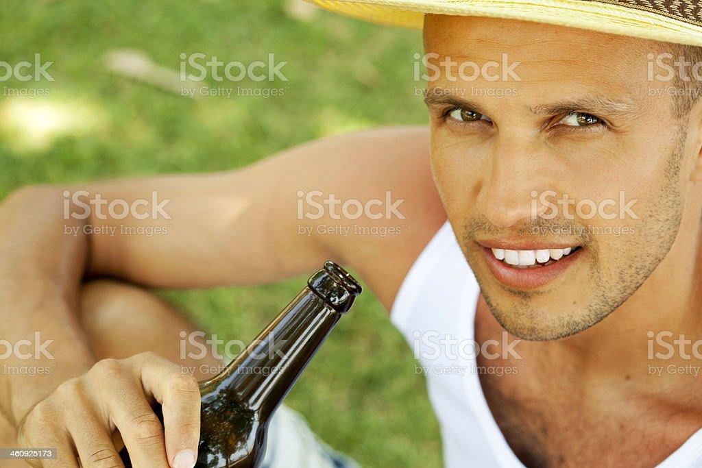 man drinking beer royalty-free stock photo