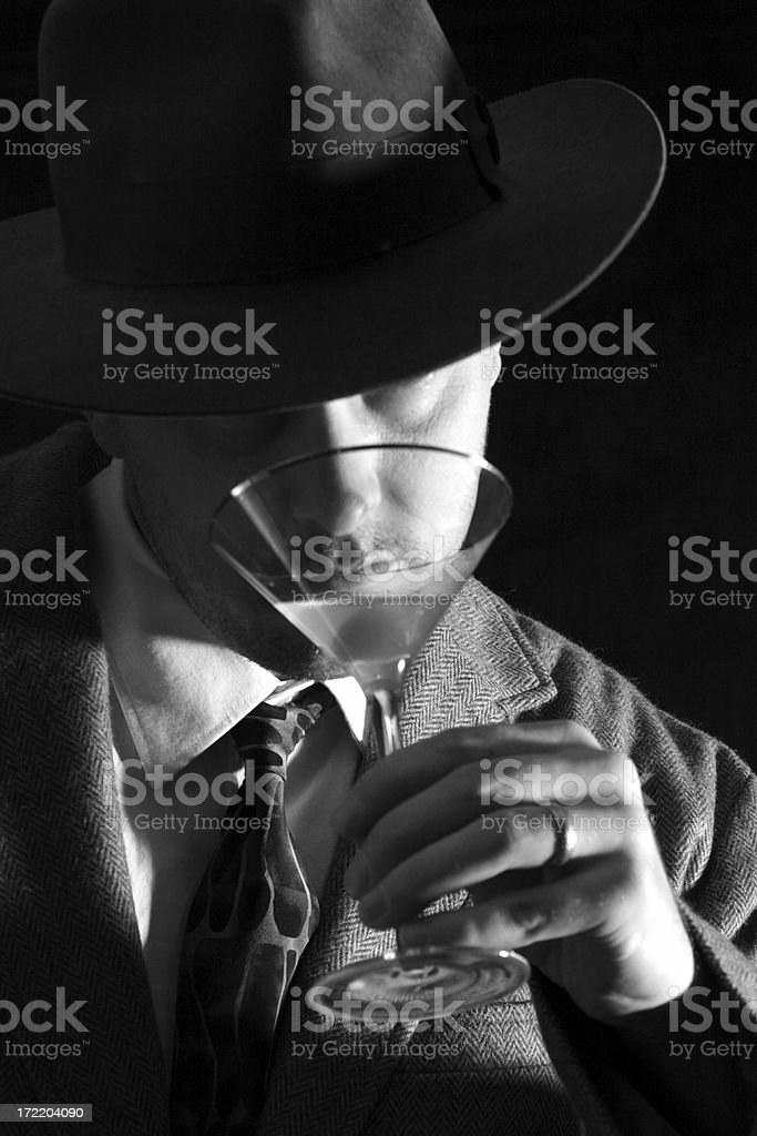 Man drinking Martini stock photo