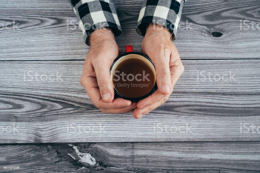Man drinking tea stock photo