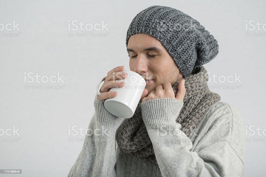 Man drinking tea, winter portrait royalty-free stock photo