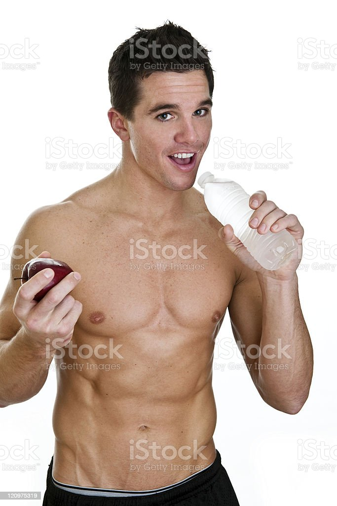Man drinking water eating an apple royalty-free stock photo