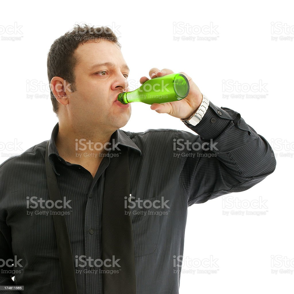 Man drinking  water or mineral stock photo