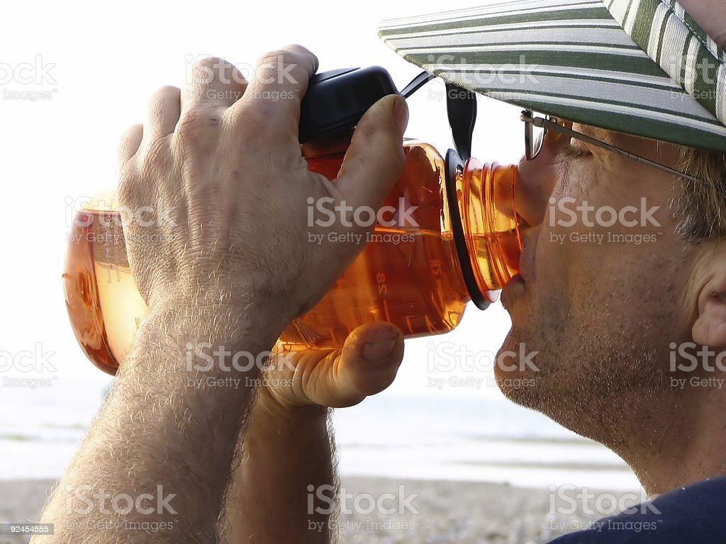 Man Drinks Water stock photo