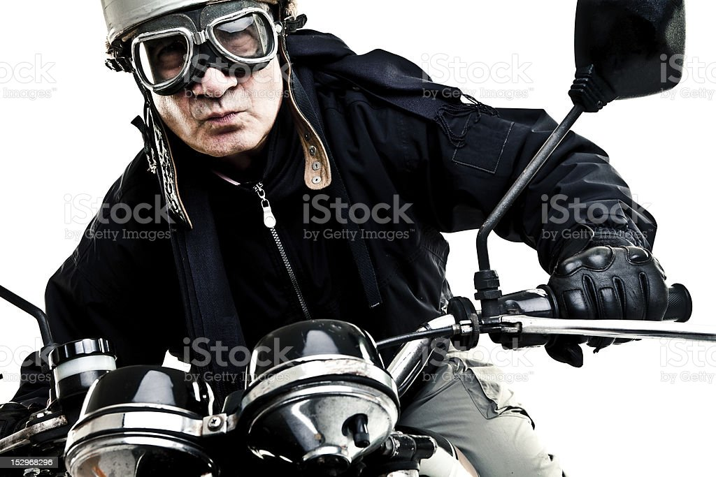 man drive classic motorcycle royalty-free stock photo