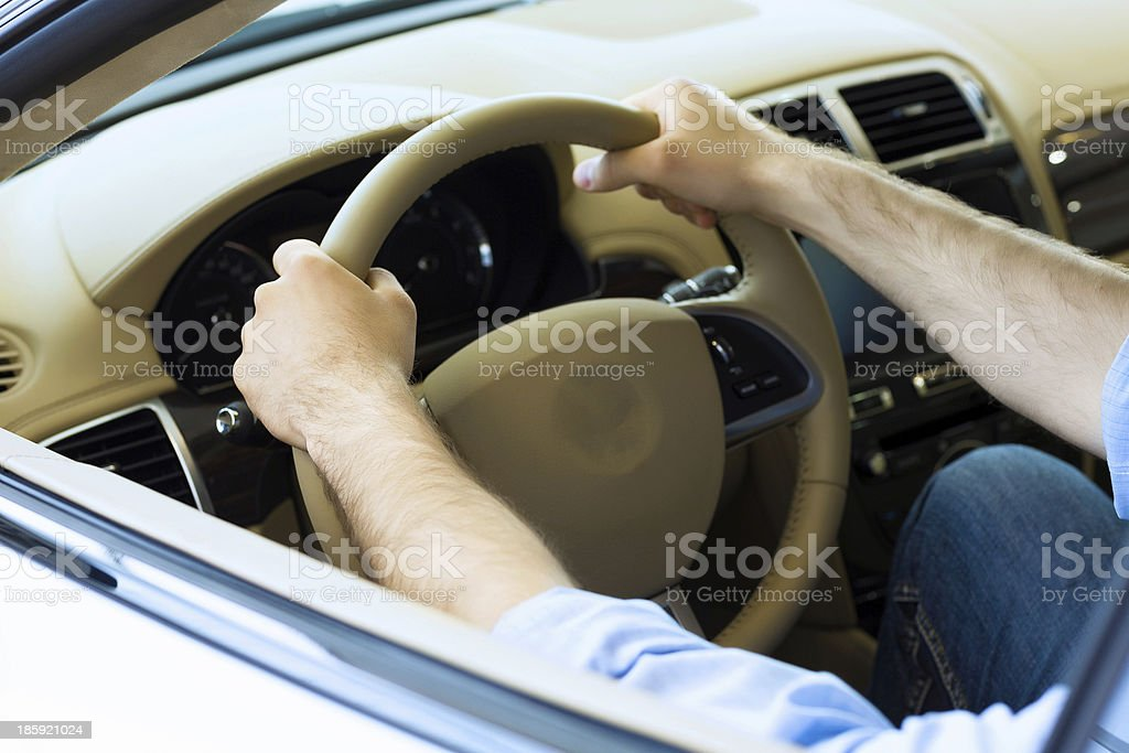Man driving a car royalty-free stock photo