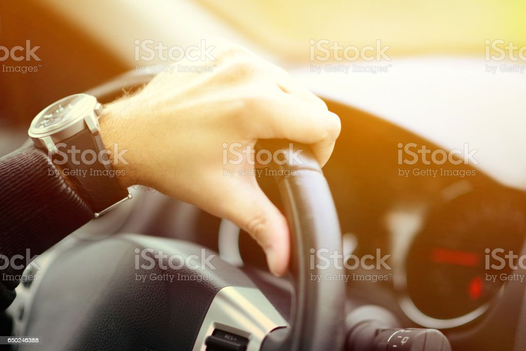 Man driving car concept stock photo