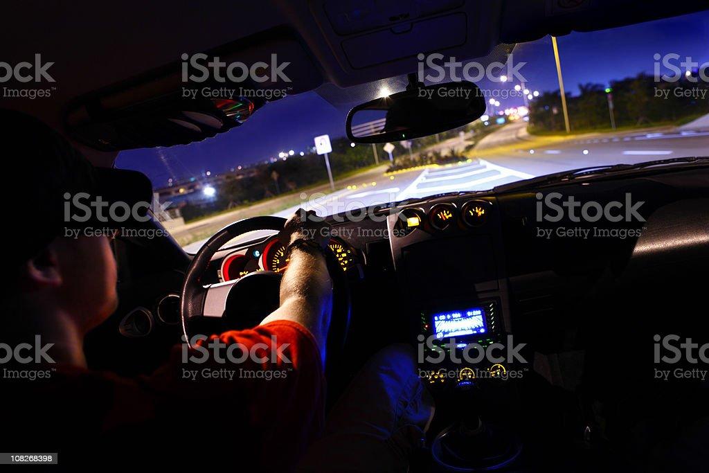 Man Driving Car Interior View stock photo