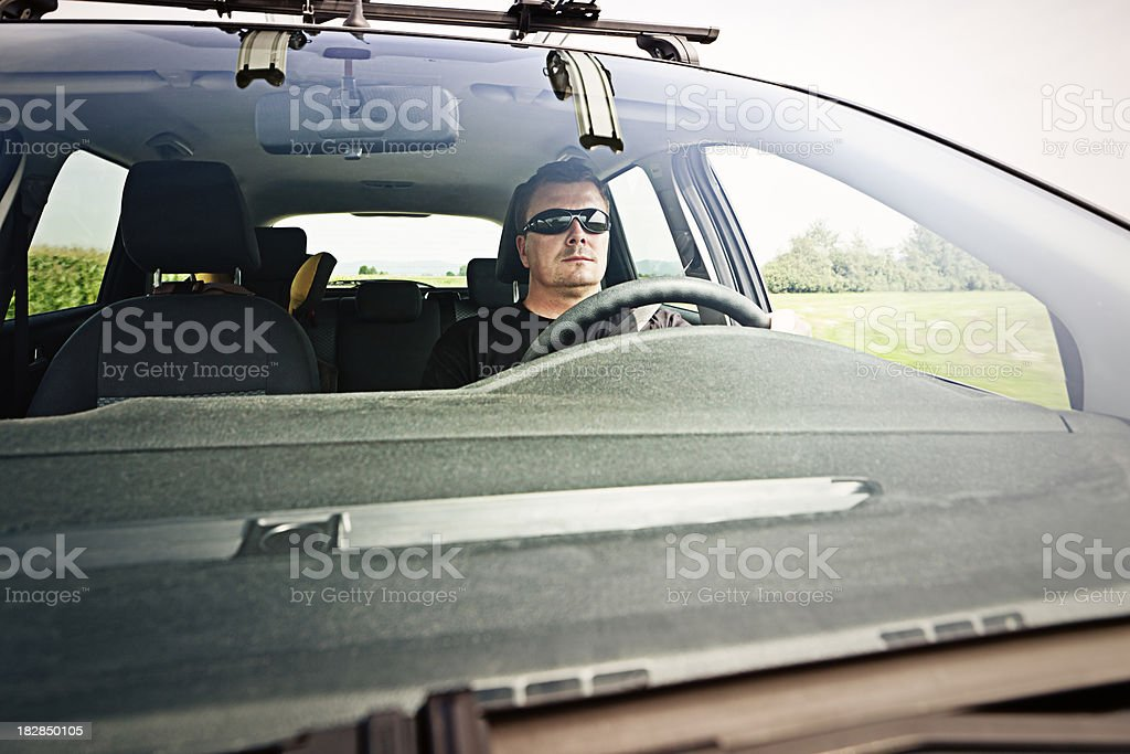 Man driving family car in nature royalty-free stock photo