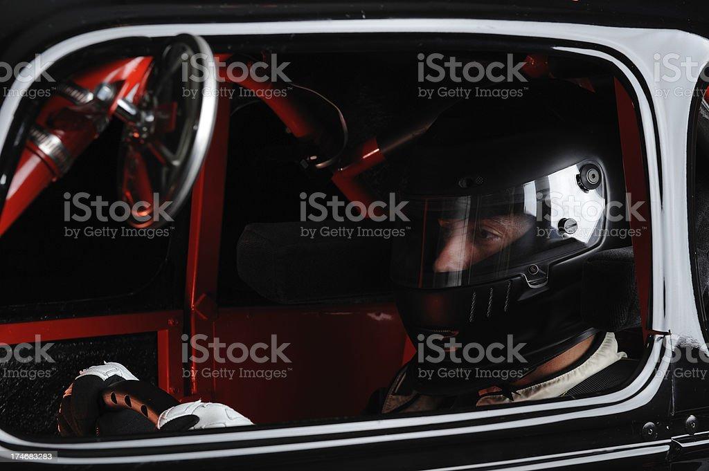 Man Driving Race Car stock photo