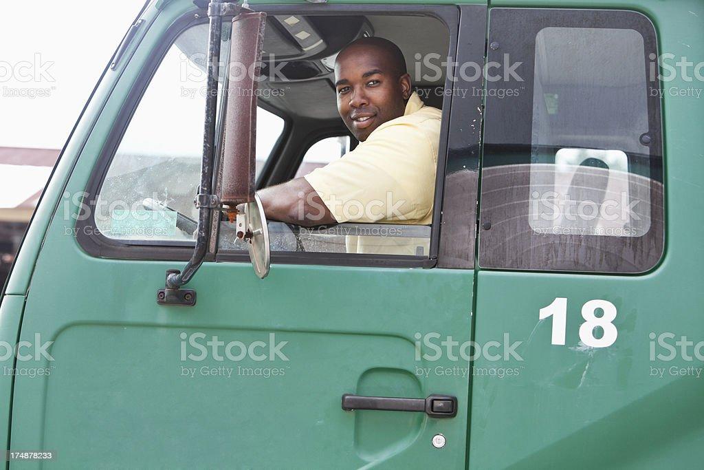 Man driving truck royalty-free stock photo