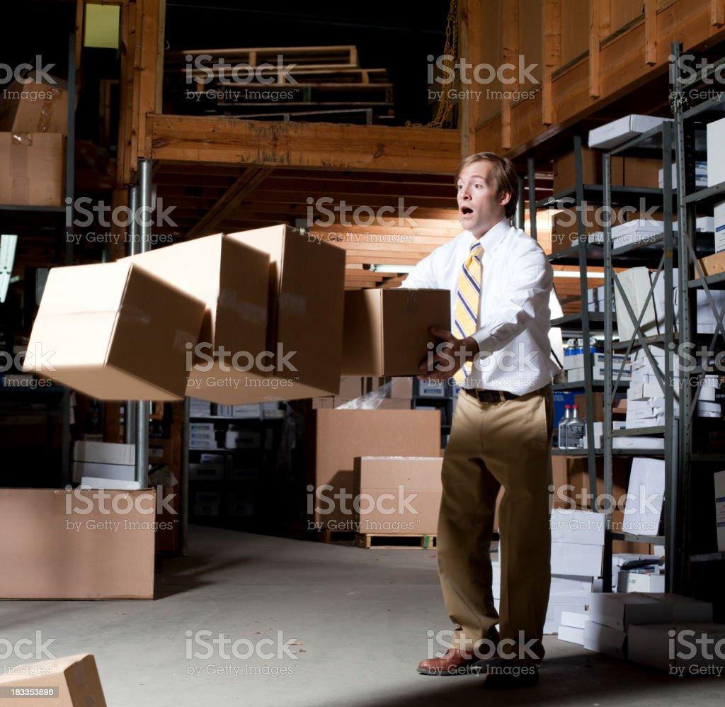 Man Dropping Boxes royalty-free stock photo