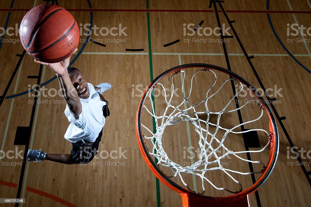 Man Dunking a Baskteball stock photo