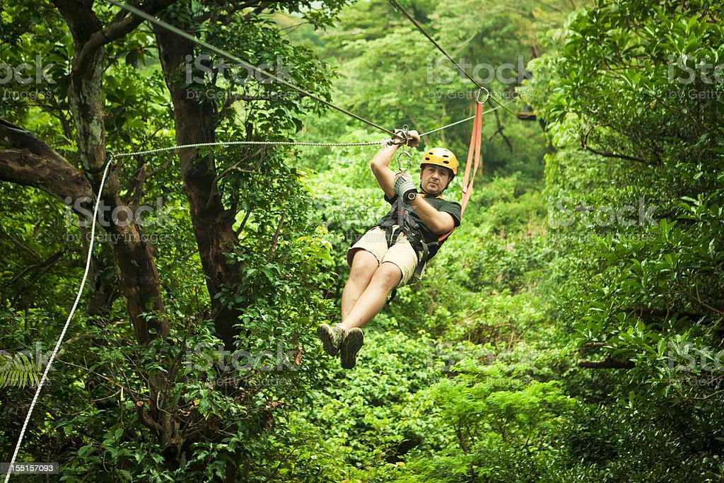 man during a Canopy Tour Costa Rica stock photo