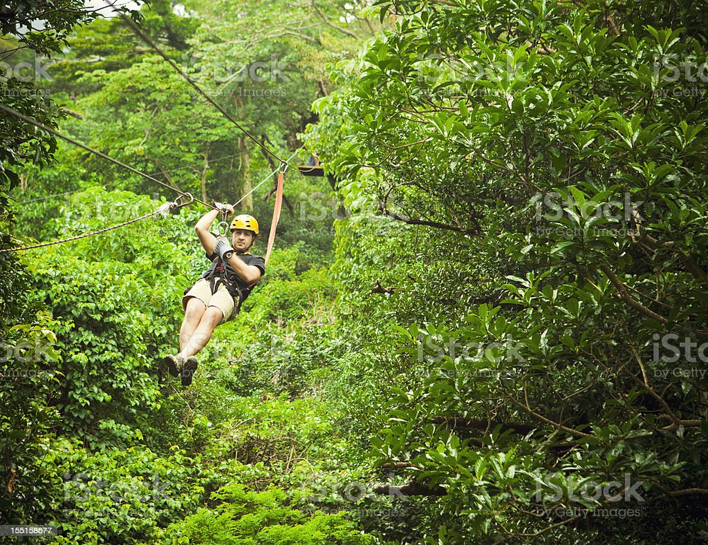 man during a Canopy Tour Costa Rica royalty-free stock photo