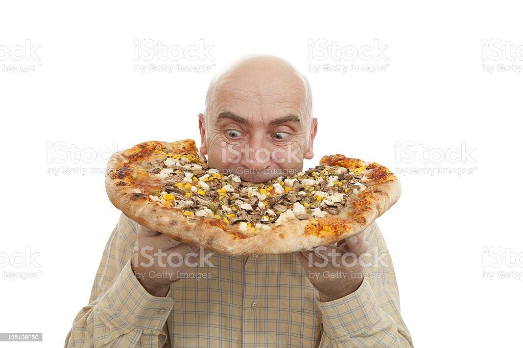 man eat pizza stock photo