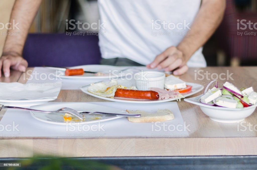 man ends with food stock photo