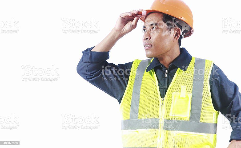 Mann-Ingenieur mit Sicherheit Weste, isoliert auf weißem Hintergrund Lizenzfreies stock-foto