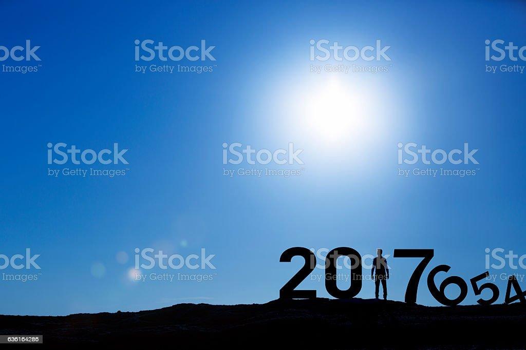 Man Enjoying and 2017 years while celebrating new year stock photo