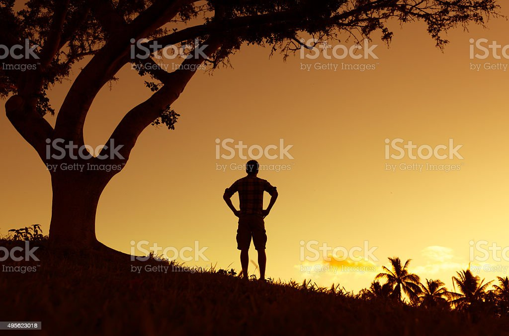 Man enjoying beautiful view stock photo