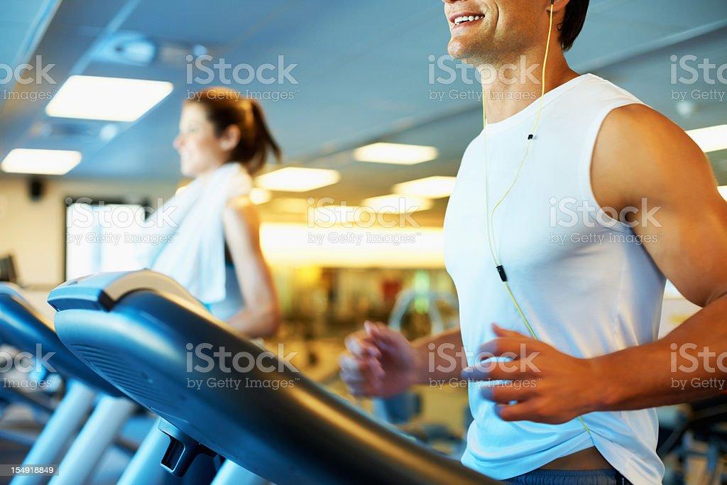 Man enjoying his run on treadmill royalty-free stock photo