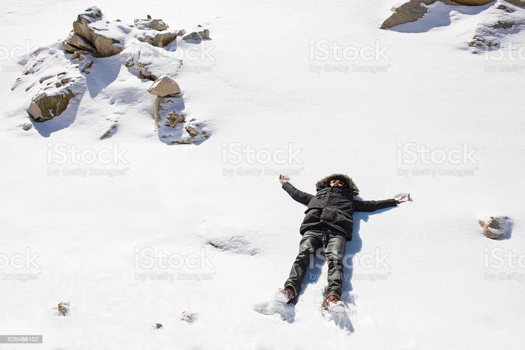 Man enjoying in the winter time stock photo