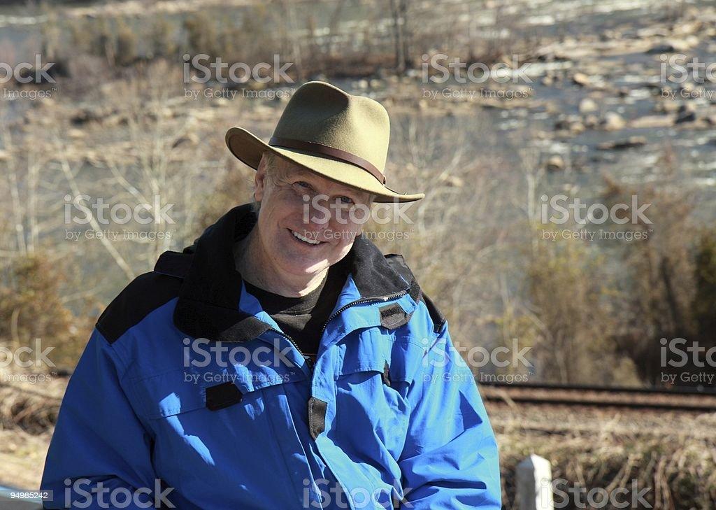 Man Enjoying Outdoors stock photo