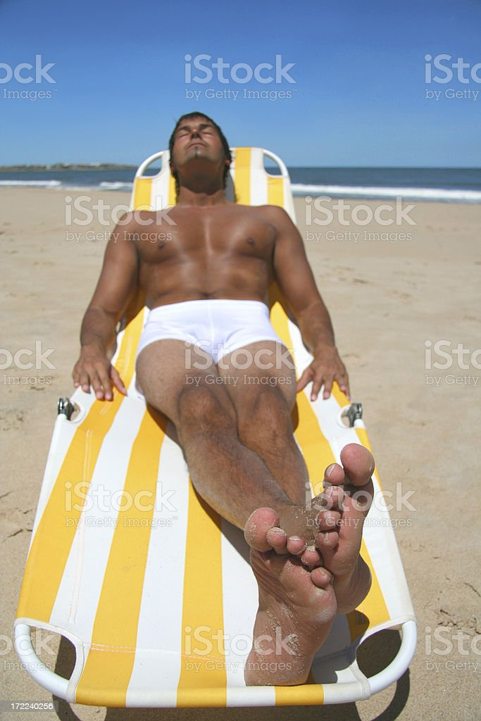 Man Enjoying the Beach royalty-free stock photo