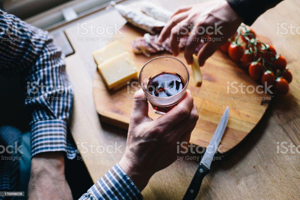 Man enjoys his aperitif stock photo