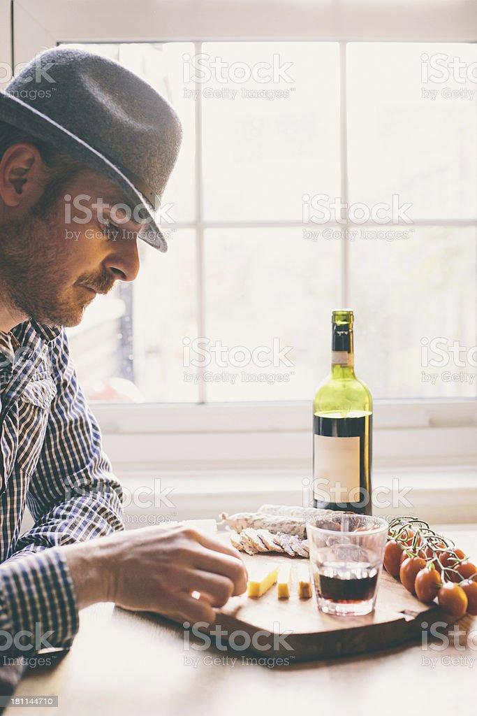 Man enjoys his aperitif royalty-free stock photo